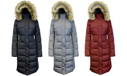 Womens Long Bubble Parka Jacket W/detachable Hood: Burgundy/large