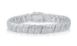 1CTTW White Diamond Double Row Bracelet 14k White Gold Plating
