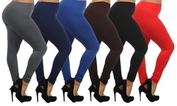 Women's High-waisted Plus-size Leggings (6-pack): Black-brown-charcoal-red-navy-royal Blue