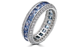 Sevil 18k White Gold Plated & Sapphire Cubic Zirc Eternity Band - Size: 9