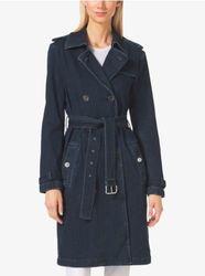 Michael Kors Denim Trench Coat - Blue - Size: Medium