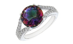 Luxury 2 Row Mystic Topaz Engagement Ring in Sterling Silver - Size: 7