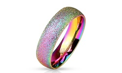 Spikes Stainless Steel Glitter Unisex Comfort Fit Ring - Rainbow - Size: 6
