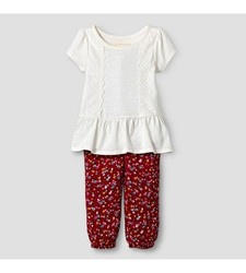 Oshkosh Baby Girl's Top and Floral Print Jogger Set - Red/Cream 18 Month