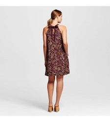 Merona Women's Floral Halter Shift Dress - Red/Burgundy - Size: XXL