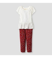 Oshkosh Baby Girl's Top and Floral Print Jogger Set - Red/Cream Size: 5T