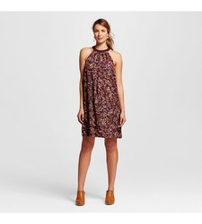 Merona Women's Floral Halter Shift Dress - Red/Burgundy - Size: X-Small