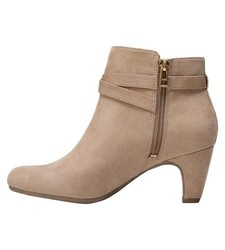 Sam & Libby Women's Mable Buckle Ankle Booties - Tan - Size: 9.5