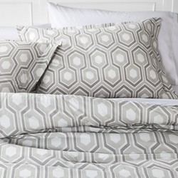 Hex Modern Geo Comforter Set - Grey - Size: Full/Queen
