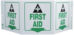 "Zing Tri View First Aid Recycled Plastic Sign - Size: 7.5""H x 20""W"