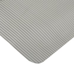 Rhino Mats Ribbed Vinyl Easy Kleen Anti Fatigue Mat - Gray-Size:4'x8'x7/8""