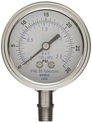 PIC Gauge Dry Filled Bottom Mount Pressure Gauge with Steel Case 0/30 psi