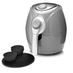 Cook's Companion 2.2 QT High Speed Air Fryer with Baking Cups - Silver