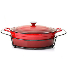 Cook's Companion Enameled Cast Iron 8 QT Covered Oval Dutch Oven - Red
