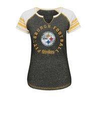 Women's NFL New Orleans Saints Split Neck Tee - Charcoal - Size: Small