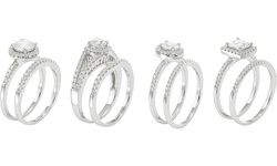0.50 Cttw Round Frame Bridal Ring Set In Sterling Silver Sl37223ap1 Size 8