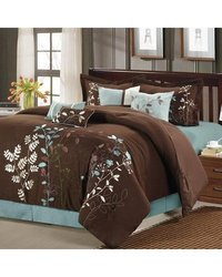Blissimo Embroidered Comforter Set: Brown/queen (8-piece)
