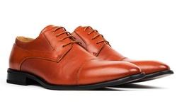 Signature Men's Cap Toe Lace-up Dress Shoes - Cognac - Size: 9.5