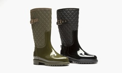 Sociology Quilted Rainboot Katelyn - Olive/7