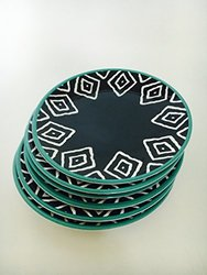 Trend Run Abstract Teal Melamine Appetizer Plates - Set of 6 - Navy