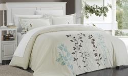 Chic Home Samantha Duvet Set - Size: Queen - Beige - 3PC