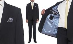 Nicole Miller Men's Slim-Fit Suit Jacket - Navy Stripe 44 Long