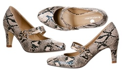 Riverberry Mila Chunky Mid Heel Mary Jane Pumps - Beige Python - Size: 7