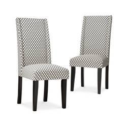 Revlon Charlie Modern Wingback Dining Chair Set of 2 - Black/White
