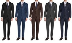 Brunello Men's Slim Fit 2-piece Suit: Navy/50lx44w