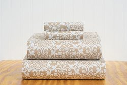 S&L Home Fashion Crete 4 Pc. Sheet Set - Taupe - Queen