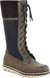 Extreme by Eddie Marc Women's CHARLIE Triple Textured Tall Laceup Boot, Taupe, 11