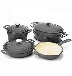 Cook's Companion Stick Resistant 8 Piece Cookware Set - Slate