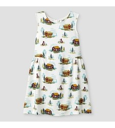 Oshkosh Girl's Sleeveless Cabin Print Dress - White - Size: Large