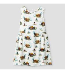 Oshkosh Girl's Sleeveless Cabin Print Dress - White - Size: 6