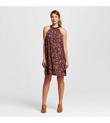 Merona Women's Floral Halter Shift Dress - Atlantic Burgundy - Size: Small
