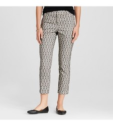 Merona Women's Ankle Pant Ebony Diamond Jacquard Curvy Fit - Black -Size:4