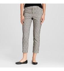 Merona Women's Ankle Pant Ebony Diamond Jacquard Curvy Fit - Black -Size:6