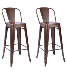 "Carlisle 29"" Backed Barstool - Brown - Set of 2"