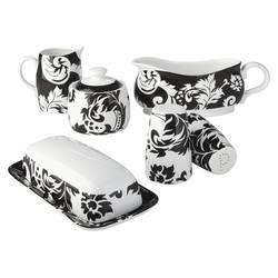Damask 6-Piece Fine China Serveware Set - Black/White