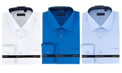 Braveman Slim Fit Dress Shirts Convertible Cuff: Light Blue - Medium