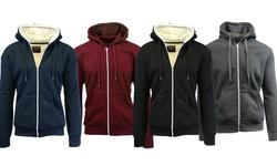 Heavyweight Sherpa & Fleece Lined Hoodies: Navy&white/burgundy-large