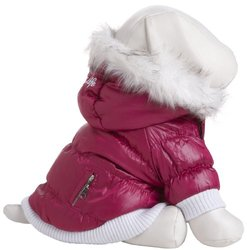 Metallic Fashion Pet Parka Coat W/ Removable Hood: Pink/large