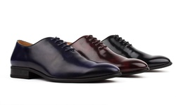 Signature Men's Whole-Cut Oxford Dress Shoes - Blue -Size: 12