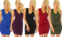 Lyss Loo Cocktail Hour V-neck Bodycon Dress: Royal/large
