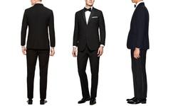 Verno Notch Lapel Classic Tuxedos - Black - Size: 50Lx44W