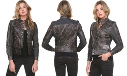 Stanzino Women's Leather & Denim Jacket - Black - Size: Small