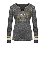 NFL New Orleans Saints Women's Game Time Gal Long Sleeve Split Crew Neck Tee, Small, Black Staccato/Harvest Gold