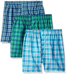 Fruit of the Loom Big Boys' Tartan Woven Boxer ,Multi,L (14-16)