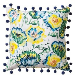 "Threshold Floral Print with Pom-Pom Pillow - Blue - 18""x18"""