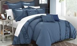 Constantine Comforter Set: Queen/blue